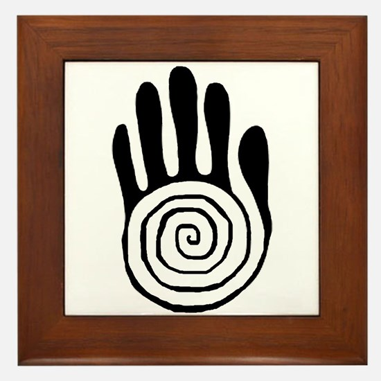 Sacred Hand in Black - Framed Tile