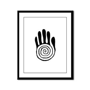 Sacred Hand in Black - Framed Panel Print