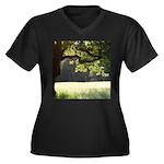 Sunny Oak Women's Plus Size V-Neck Dark T-Shirt