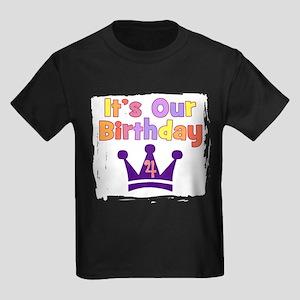 It's Our Birthday (4) GIRLS Kids Dark T-Shirt
