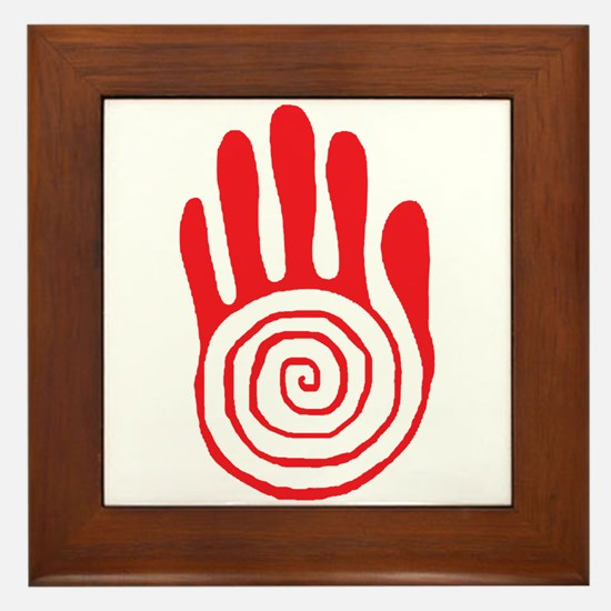 Sacred Hand in Red - Framed Tile