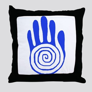 Sacred Hand in Blue - Throw Pillow
