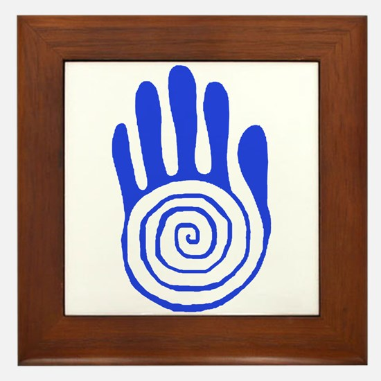 Sacred Hand in Blue - Framed Tile