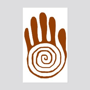 Sacred Hand in Brown on Rectangle Sticker