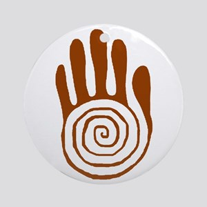 Sacred Hand in Brown on Ornament (Round)
