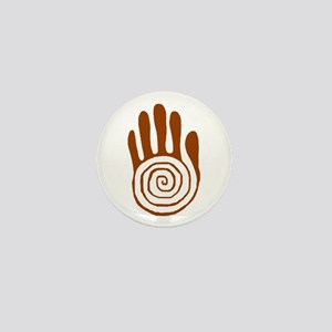 Sacred Hand in Brown on Mini Button
