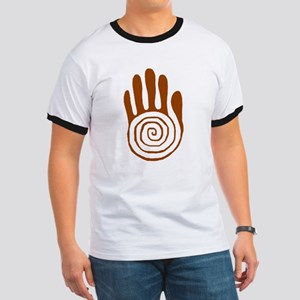 Sacred Hand in Brown on Ringer T