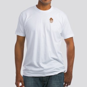 Sacred Hand in Brown on Fitted T-Shirt