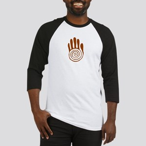 Sacred Hand in Brown on Baseball Jersey