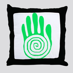Sacred Hand in Green Throw Pillow