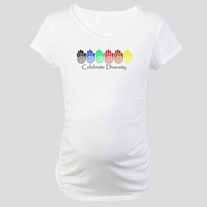 Celebrate Diversity Rainbow Hands Maternity T-Shir