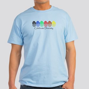 Celebrate Diversity Rainbow Hands Light T-Shirt