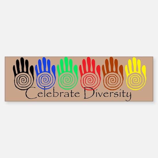 Celebrate Diversity Rainbow Hands Bumper Bumper Bumper Sticker