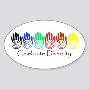 Celebrate Diversity Rainbow Hands Oval Sticker