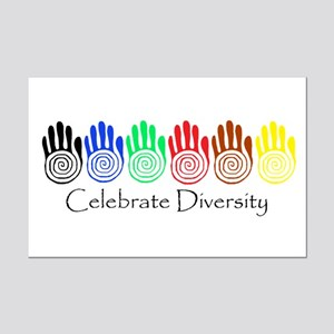 Celebrate Diversity Rainbow Hands Mini Poster Prin