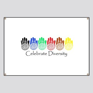 Celebrate Diversity Rainbow Hands Banner