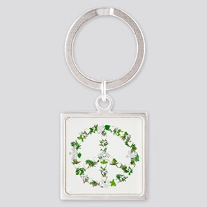 Peace Birds Square Keychain