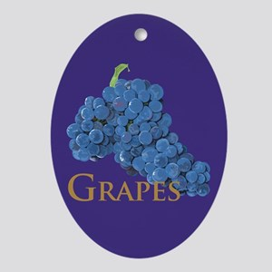Red Wine Grapes Oval Ornament