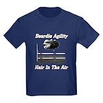 Beardie Agility-Hair in the Air Kids Dark T-Shirt