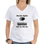Beardie Agility-Hair in the Air Wms V-Neck T-Shi