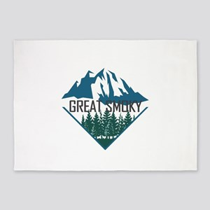 Great Smoky Mountains - Tennessee, 5'x7'Area Rug