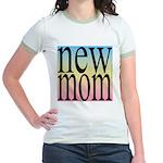 109. new mom [rainbow back] Jr. Ringer T-Shirt