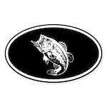 Bass fishing negative Oval Sticker