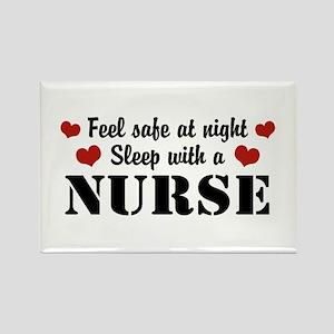 Feel Safe Sleep with a Nurse Rectangle Magnet