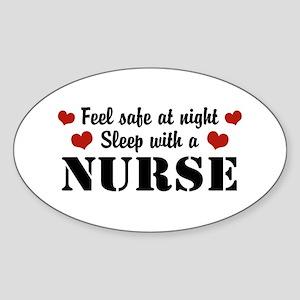 Feel Safe Sleep with a Nurse Oval Sticker