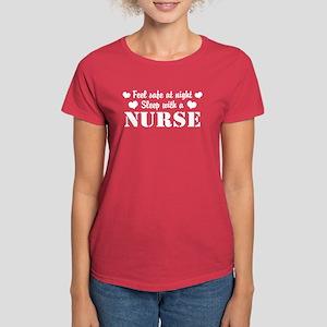 Feel Safe Sleep with a Nurse Women's Dark T-Shirt