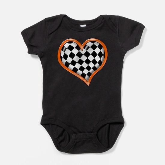 Orange Race Heart Infant Bodysuit Body Suit