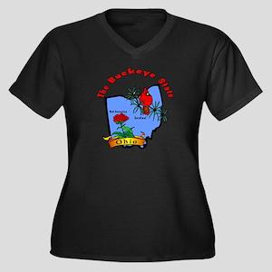 """Ohio Pride"" Women's Plus Size V-Neck Dark T-Shirt"