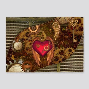 Steampunk, heart with wings, clocks and gears 5'x7