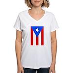 Women's Puerto Rico Flag V-Neck T-Shirt