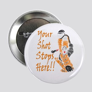 Hockey Goalie - Orange Button