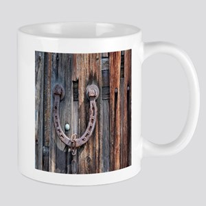 rustic barn wood horseshoe Mugs