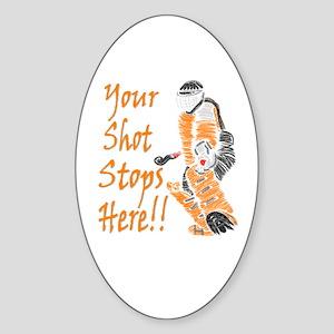 Hockey Goalie - Orange Oval Sticker