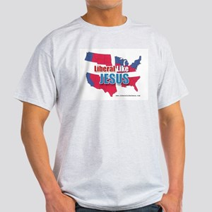 Liberal like Jesus - USA Red Blue Map Ash Grey T-S