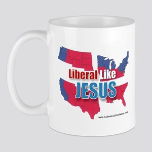 Liberal like Jesus - USA Red Blue Map Mug