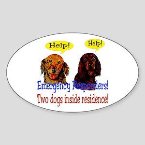 Two Dog Alert Oval Sticker