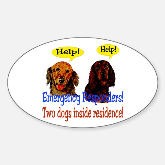 Two Dog Alert Oval Decal