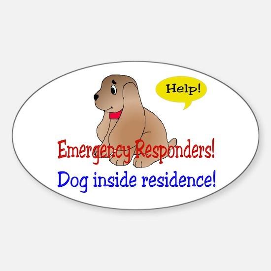 Single Dog Alert Oval Decal