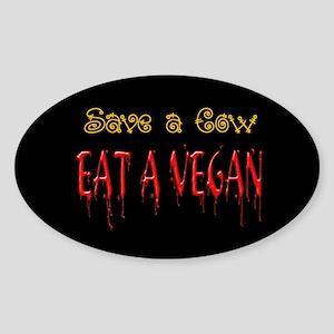 Eat a Vegan Oval Sticker