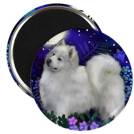 Samoyed dog moon Magnet