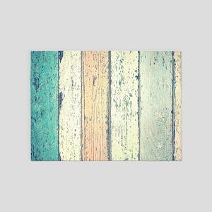 turquoise beach whitewash wood 5'x7'Area Rug