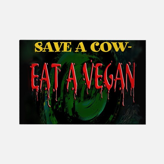 Save a Cow Rectangle Magnet