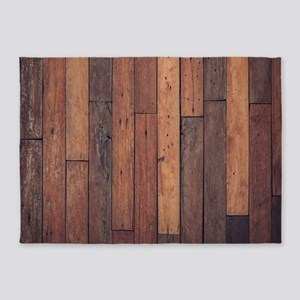 western country brown barn wood 5'x7'Area Rug