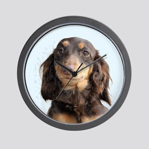 Long Hair Doxie Wall Clock
