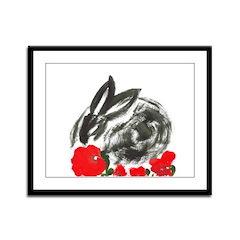 red flower blanket Framed Panel Print