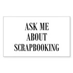 Ask Me About Scrapbooking Rectangle Sticker 50 pk